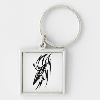 Kayaking Extreme Sport Graphic in Black & White Keychain
