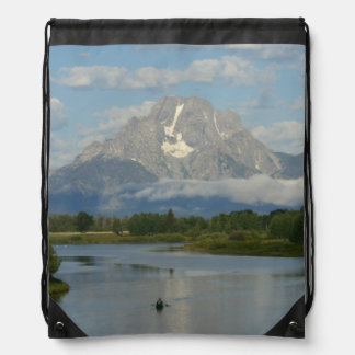 Kayaking in Grand Teton National Park Drawstring Bag