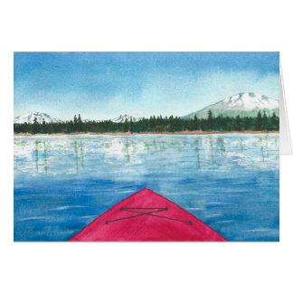 Kayaking on a Cascade Lake Watercolor Card