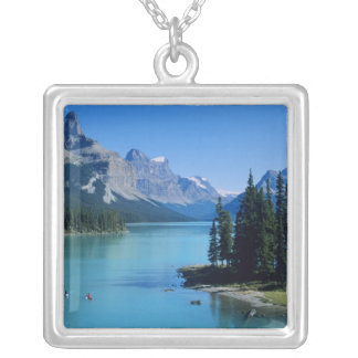 Kayaking on Maligne Lake at Spirit Island Silver Plated Necklace