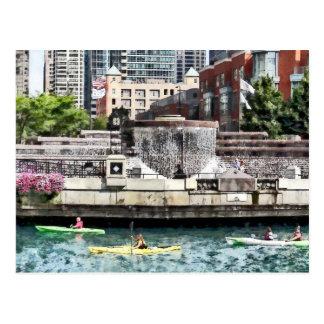 Kayaking on the Chicago River Near Centennial Foun Postcards