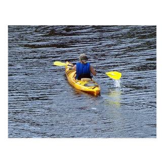 Kayaking on the river postcard