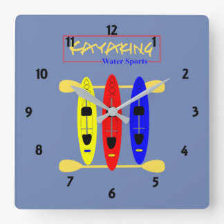 Kayaking Water Sports Themed Graphic Square Wall Clock