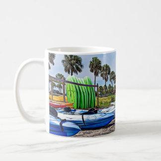 Kayaks and Boats Pretty Summer Day Ocean Photo Mug