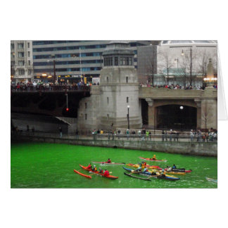 Kayaks on a green Chicago River Note Card