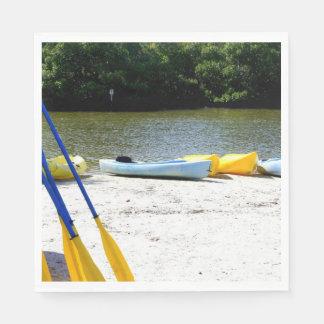 Kayaks on the bay paper napkins