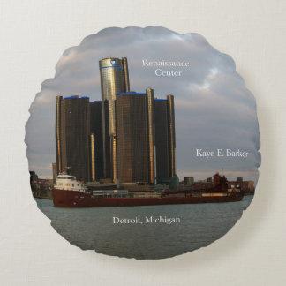Kaye E. Barker & Ren Cen Detroit round pillow