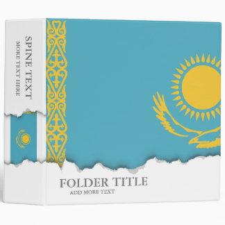 Kazakhstan Flag 3 Ring Binders