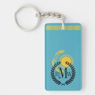 Kazakhstan Flag Double-Sided Rectangular Acrylic Keychain