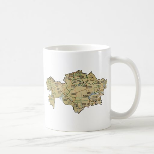 Kazakhstan Flag ~ Map Mug