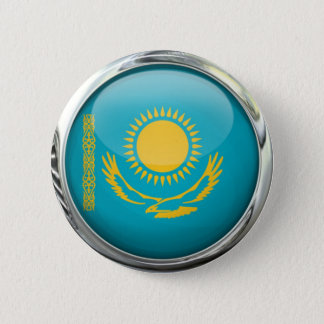 Kazakhstan Flag Round Glass Ball 2 Inch Round Button