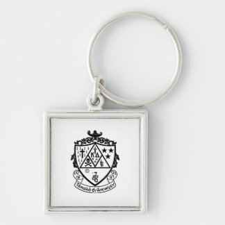 KD Crest Silver-Colored Square Keychain