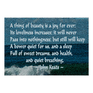 """Keats """"full of sweet dreams & health"""" quote poster"""