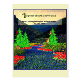 Keats quote nature scene postcard