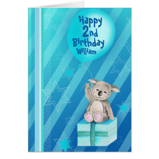 Keddy Koala blue 2nd birthday card