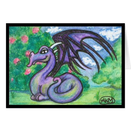 Keely : Purple Dragon Greeting Card (Blank)