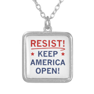 Keep America Open Silver Plated Necklace