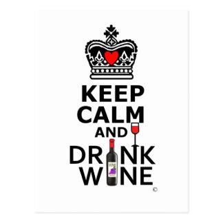 Keep Cakm and Drink Postcard