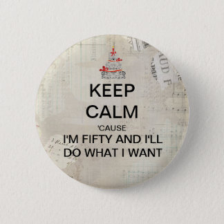 Keep Calm 50th Birthday Party Favor 2 Inch Round Button