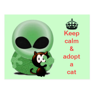 Keep calm and adopt a cat postcard