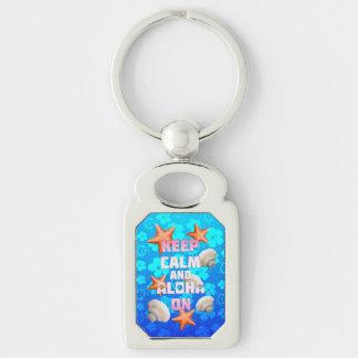 Keep Calm And Aloha On Silver-Colored Rectangle Keychain