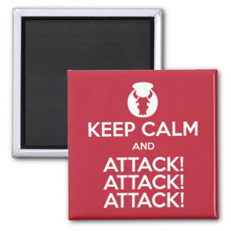 Keep Calm and Attack3x 2-inch square magnet