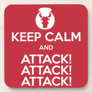 Keep Calm and Attack3x coasters, set of 6 Drink Coasters
