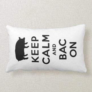 Keep calm and bacon lumbar pillow