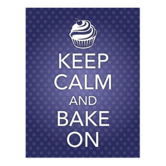 Keep Calm and Bake On Recipe Card Blue