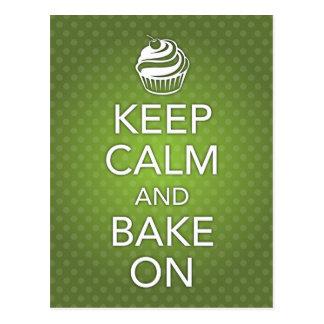 Keep Calm and Bake On Recipe Card Green