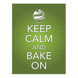 Keep Calm and Bake On Recipe Card Green Postcard
