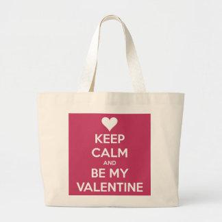 Keep Calm and Be My Valentine Berry Jumbo Tote Bag