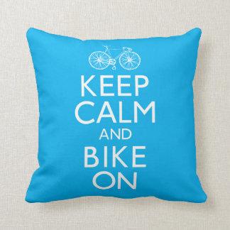 Keep Calm and Bike On Throw Pillow