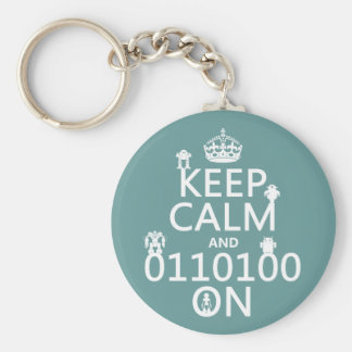 Keep Calm and (Binary) On (robots)(any color) Keychain