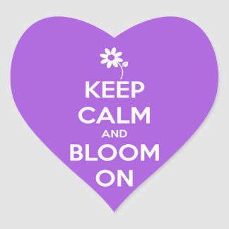 Keep Calm and Bloom On Purple Heart Sticker