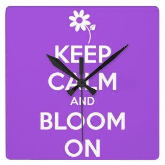 Keep Calm and Bloom On Purple Wall Clocks