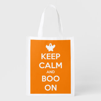 Keep Calm and Boo On Orange Reusable Tote Bag Market Tote