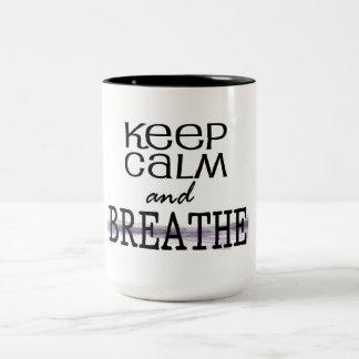 Keep Calm and Breathe Two-Tone Coffee Mug