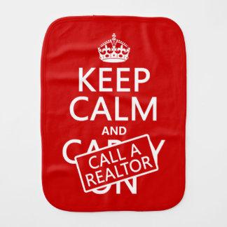 Keep Calm and Call A Realtor Burp Cloth