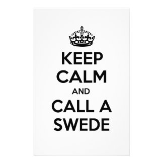Keep Calm and Call a Swede Customized Stationery
