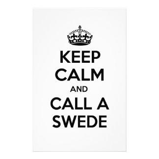 Keep Calm and Call a Swede Stationery
