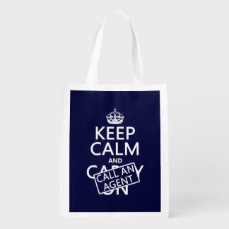 Keep Calm and Call An Agent Reusable Grocery Bag