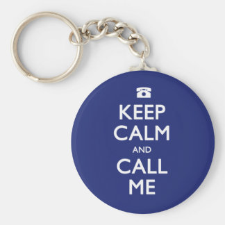 Keep Calm and Call Me navy keychain