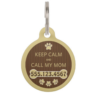 Keep Calm and Call My Mom Round Large ID Dog Tag