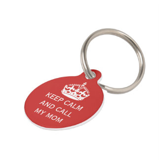 keep calm and call personalized pet tag