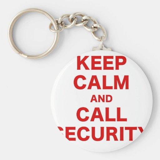Keep Calm and Call Security Key Chain