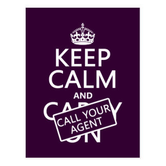 Keep Calm and Call Your Agent any color Post Card