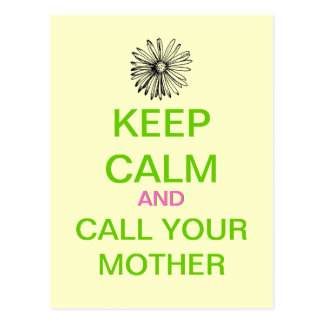 KEEP CALM And Call Your Mother Mod Postcard