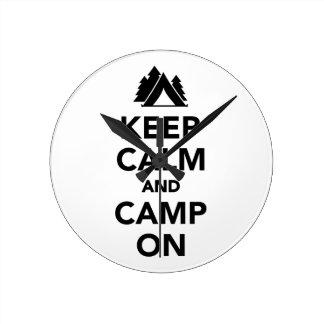 Keep calm and camp on wallclock