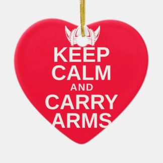 Keep Calm and Carry Arms Danish Viking Gear Ceramic Heart Ornament